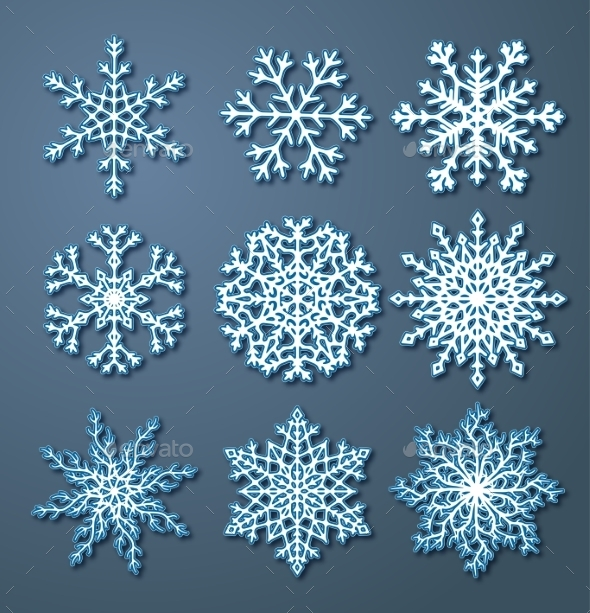 Set of Paper Snowflakes - Christmas Seasons/Holidays