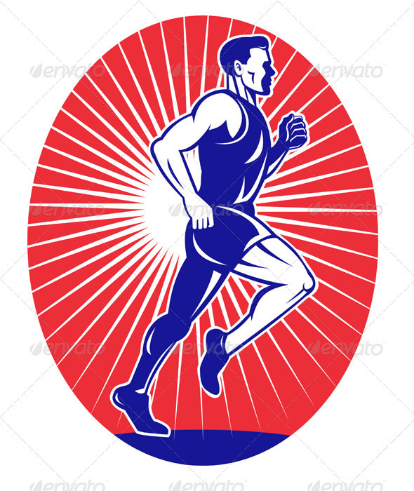 Marathon Runner Running Race Side View - Sports/Activity Conceptual