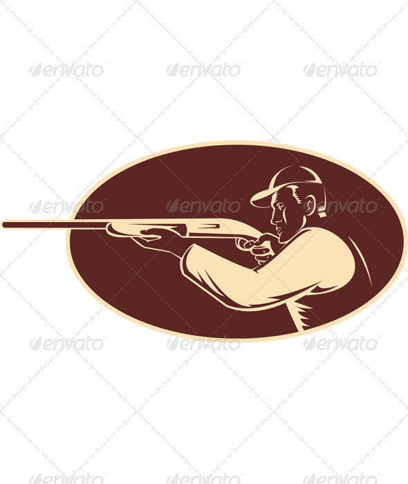 Hunter Rifle Aiming Shotgun Side Woodcut - Sports/Activity Conceptual