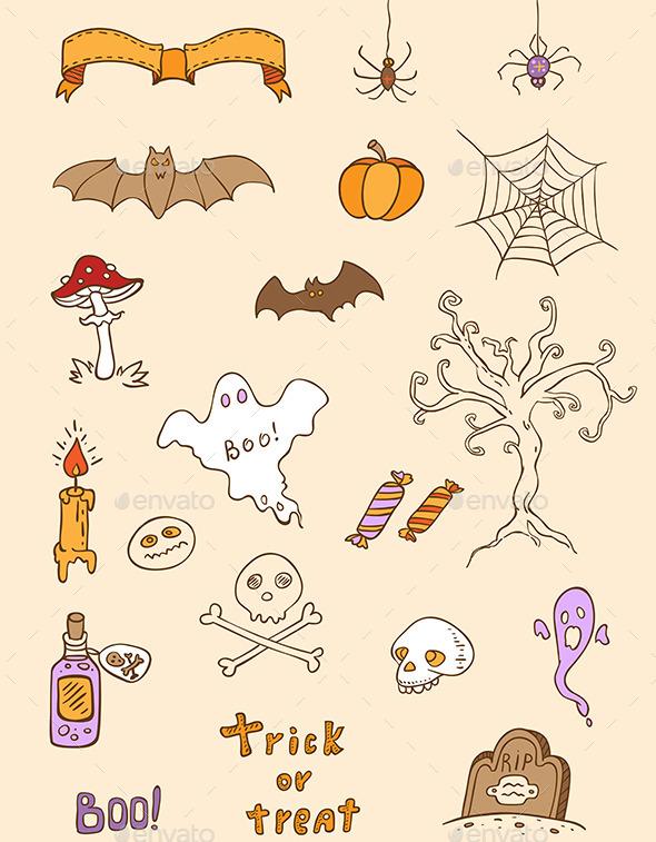Halloween Doodle Design Elements - Halloween Seasons/Holidays