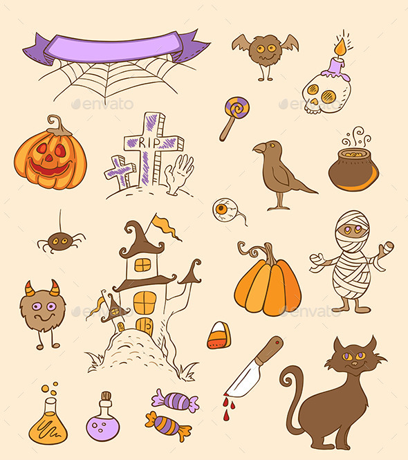 Halloween Doodle Design Elements - Halloween Seasons/Holidays