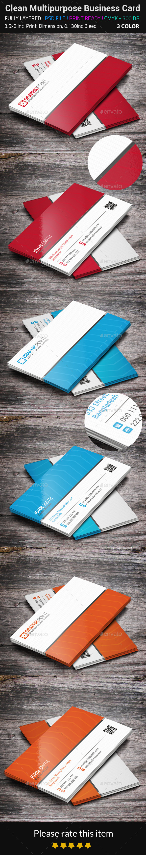 Clean Multipurpose Business Card - Corporate Business Cards