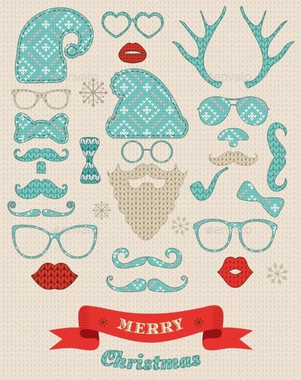 Christmas Silhouette Set on Knitting Texture  - Christmas Seasons/Holidays