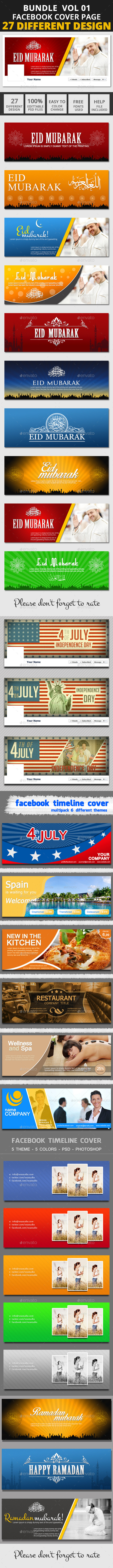 Facebook Bundle Vol01 - Facebook Timeline Covers Social Media