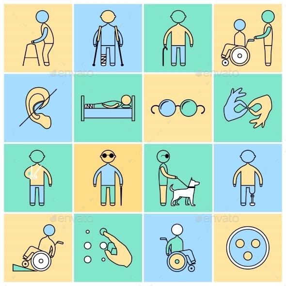 Disabled Icons Set Flat Line - Web Elements Vectors