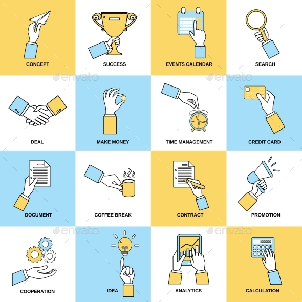 Business Hands Flat Line - Web Icons