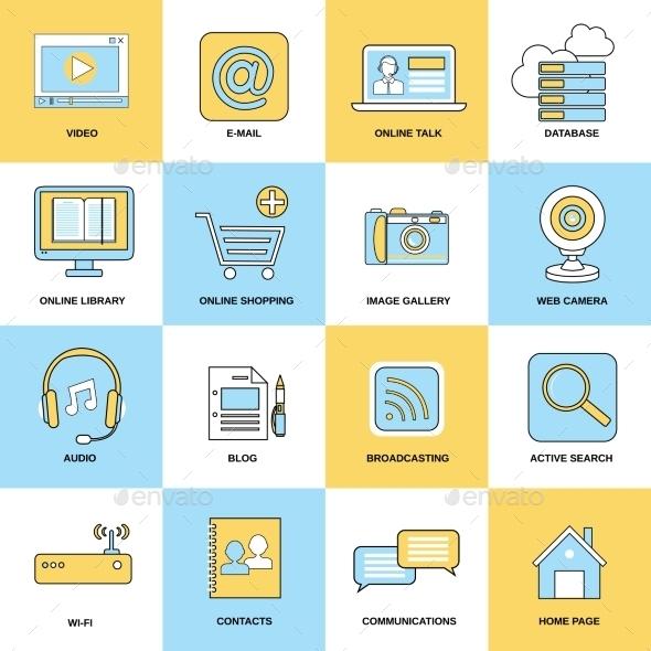 Internet Icons Flat Line - Web Icons
