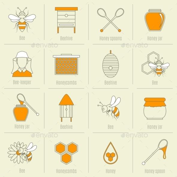 Bee Honey Icons Flat Line Set - Web Technology