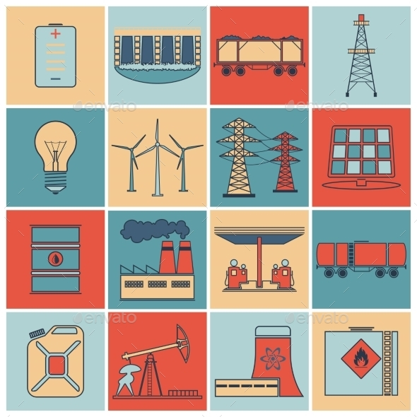Energy Icons Flat Line Set - Industries Business