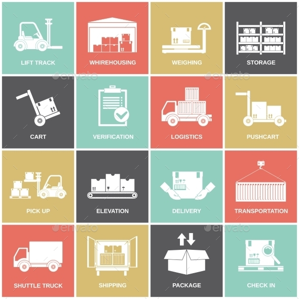 Warehouse Icons Flat - Web Elements Vectors