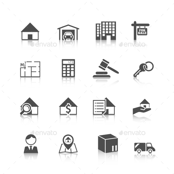 Real Estate Icons Black - Buildings Objects