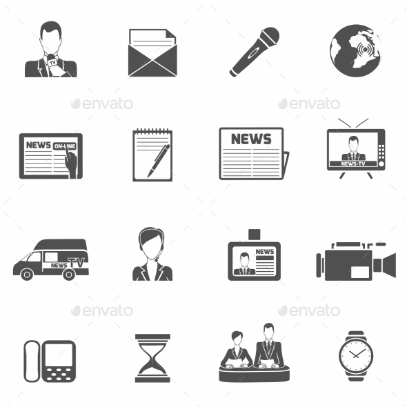 News Icons Black - Web Technology