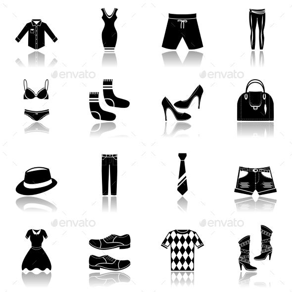 Clothes Icons Set Black - Web Elements Vectors