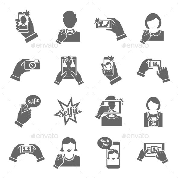 Selfie Icons Black - Web Elements Vectors
