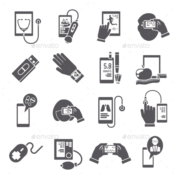 Mobile Health Icons Set Black - Health/Medicine Conceptual