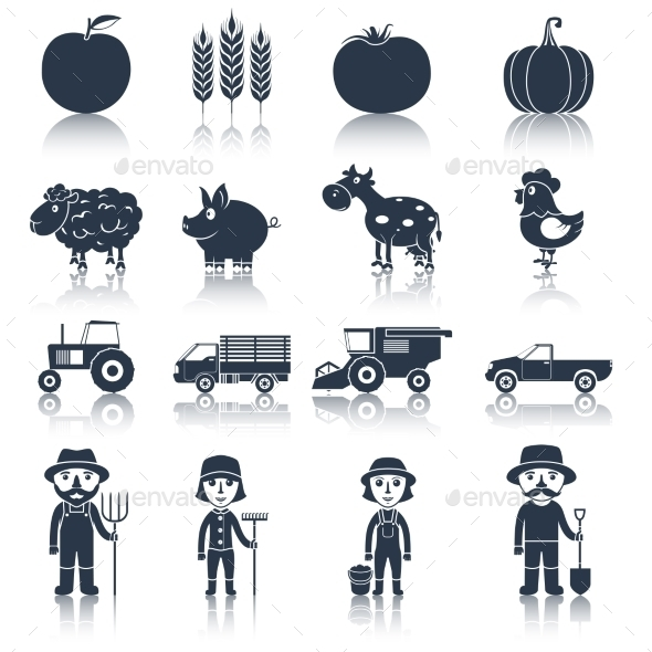 Farm Icons Set Black - Web Technology