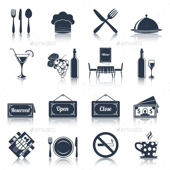 Restaurant Icons Set  - Web Elements Vectors