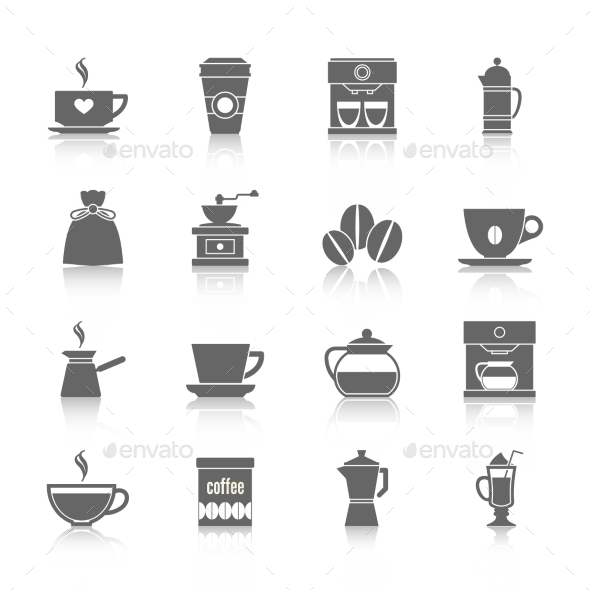 Coffee Icons Black - Food Objects