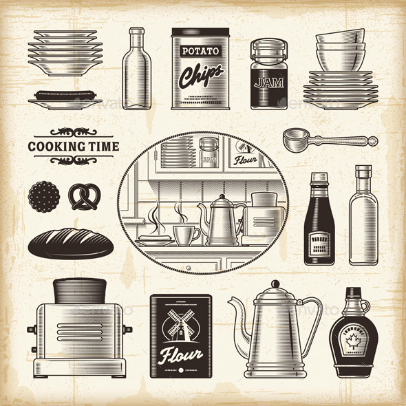 Vintage Kitchen Set - Food Objects