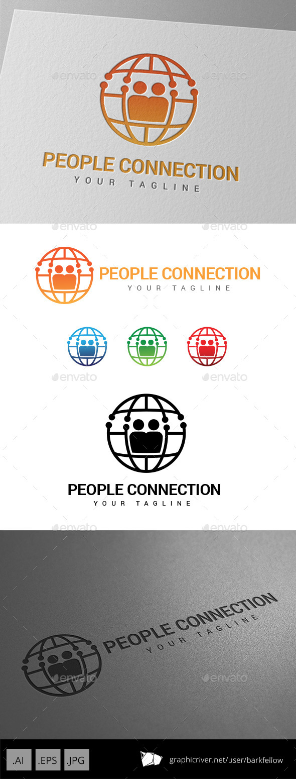 People World Connection Logo - Abstract Logo Templates