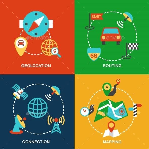 Mobile Navigation Flat Set - Concepts Business