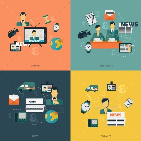 News Icons Flat - Concepts Business