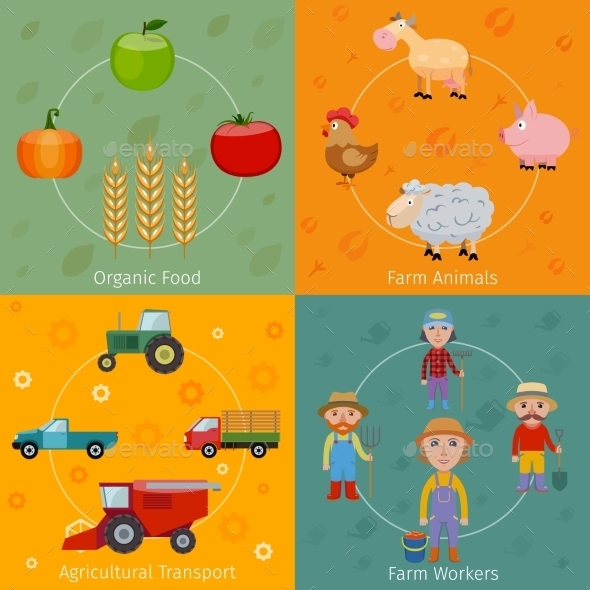 Farm Icons Set Flat - Industries Business