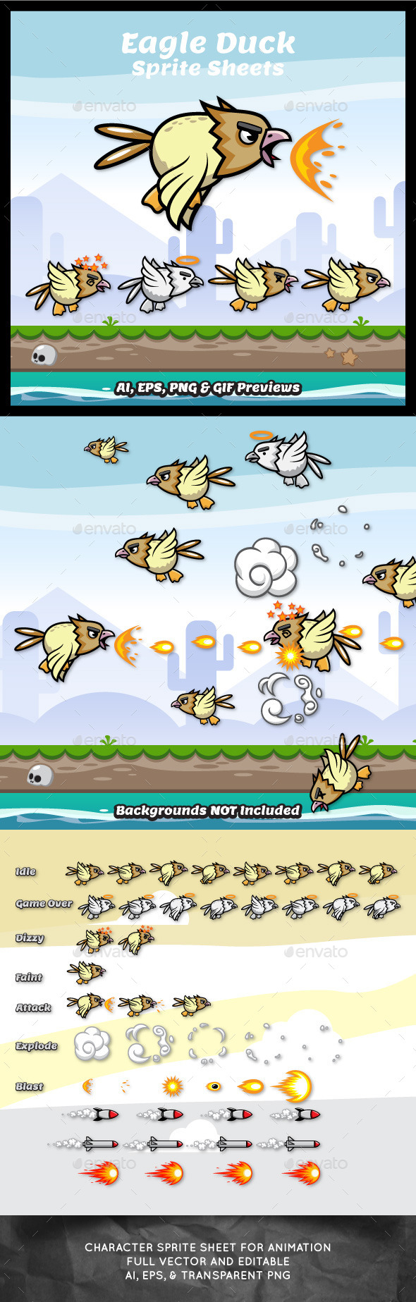 Eagle Duck Sprite Sheets - Sprites Game Assets