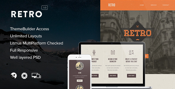 Retro - Responsive Email + Themebuilder Access - Newsletters Email Templates