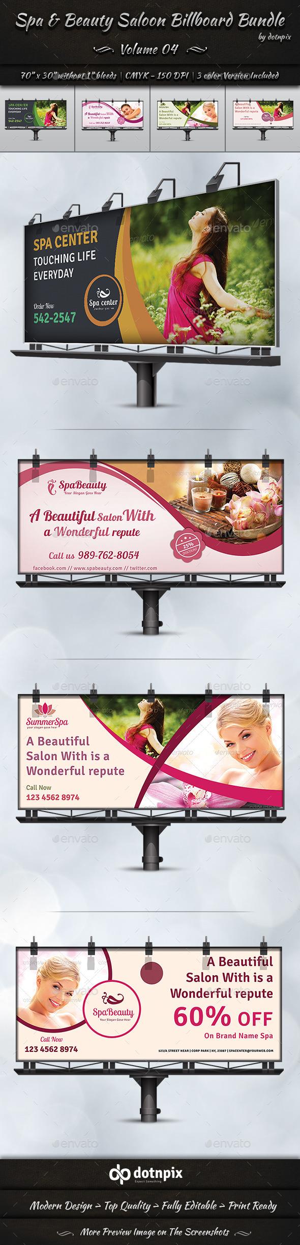 Spa & Beauty Saloon Billboard Bundle | Volume 4 - Signage Print Templates