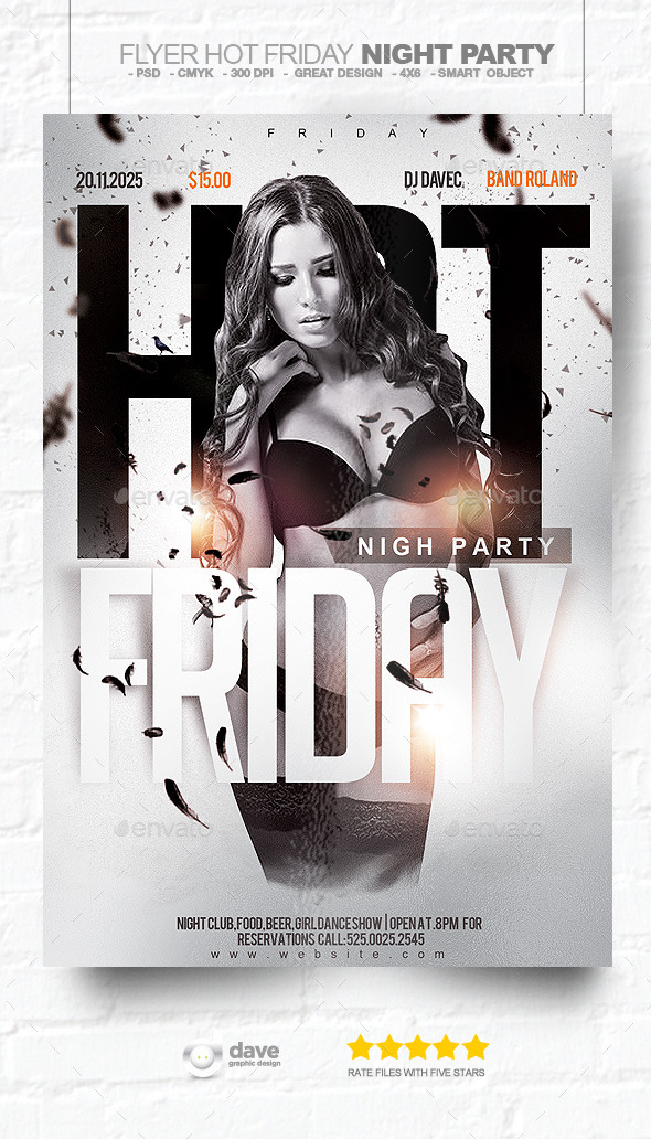 flyer hot friday night party by david82flash