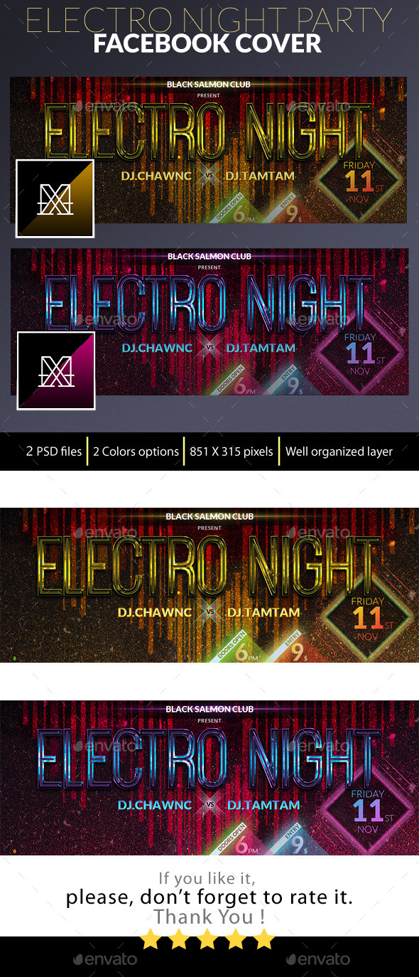 Electro Night Facebook Cover - Facebook Timeline Covers Social Media