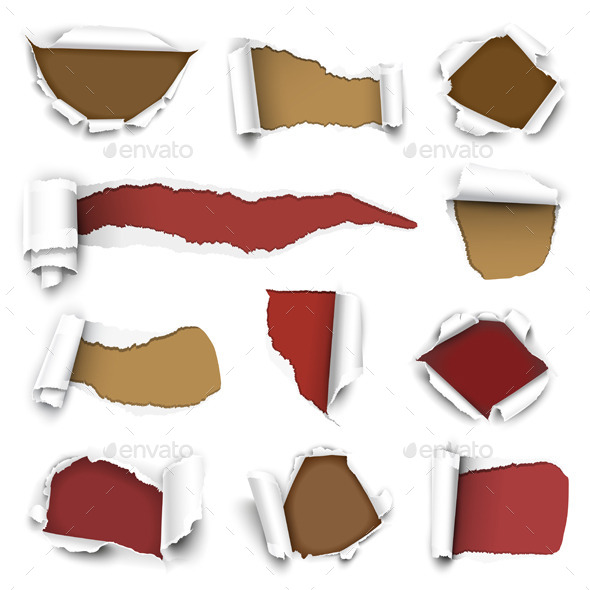 Collection of Torn Paper - Patterns Decorative