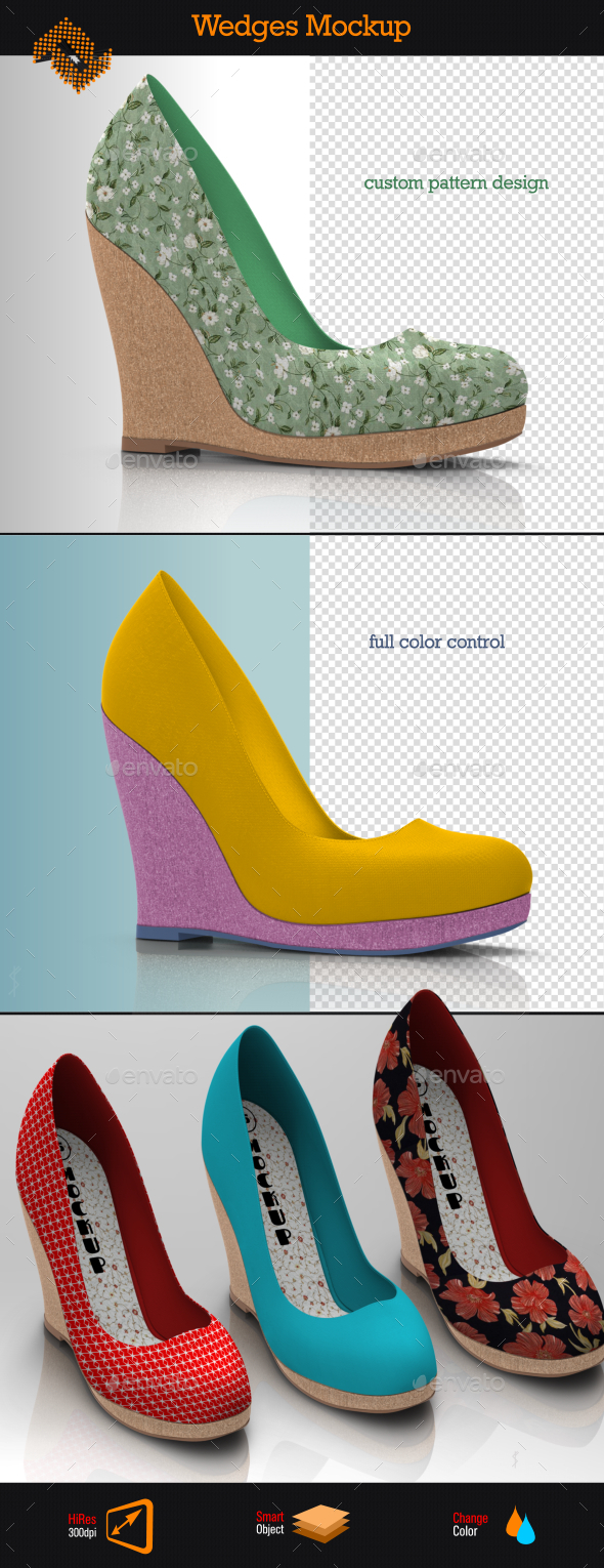 Wedges / Women's Wedge Boots Mockup - Product Mock-Ups Graphics