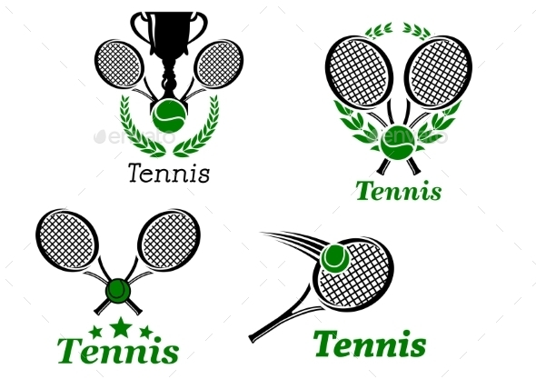 Tennis Sport Emblems - Sports/Activity Conceptual