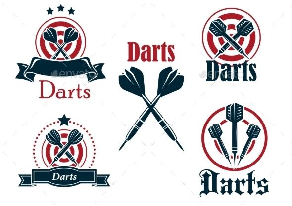 Darts Icons, Emblems or Symbols - Sports/Activity Conceptual