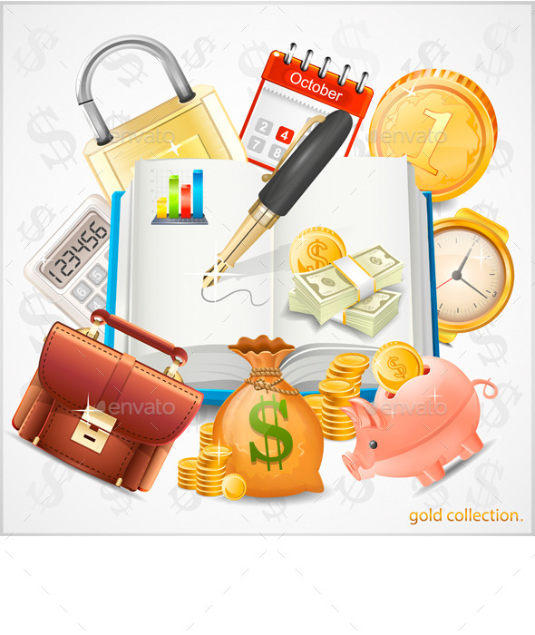 Items of Business, Money, Gold Coins - Business Icons