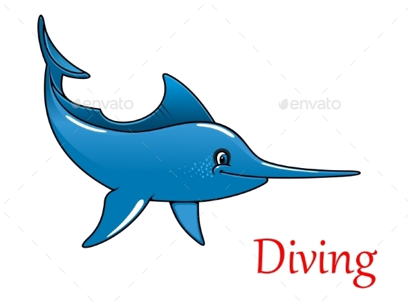 Cartoon Swordfish Character - Animals Characters