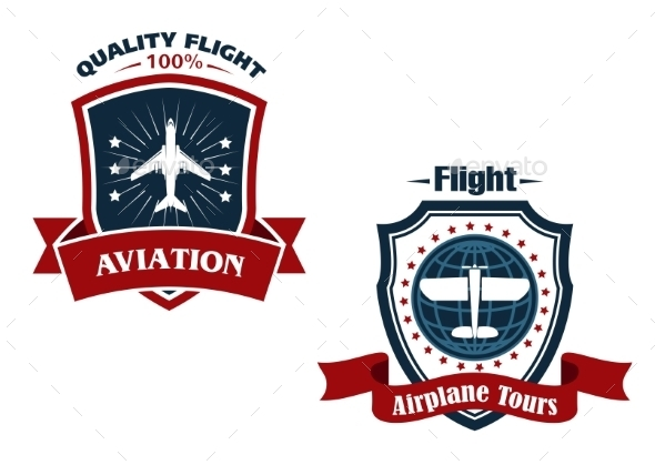Airplane Tours and Aviation Icons - Travel Conceptual