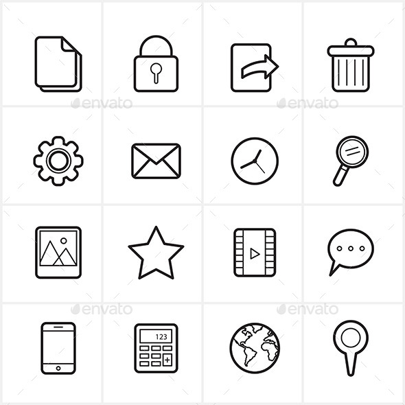 Flat Line Icons Mobile Icons and Internet Web Icon - Web Icons