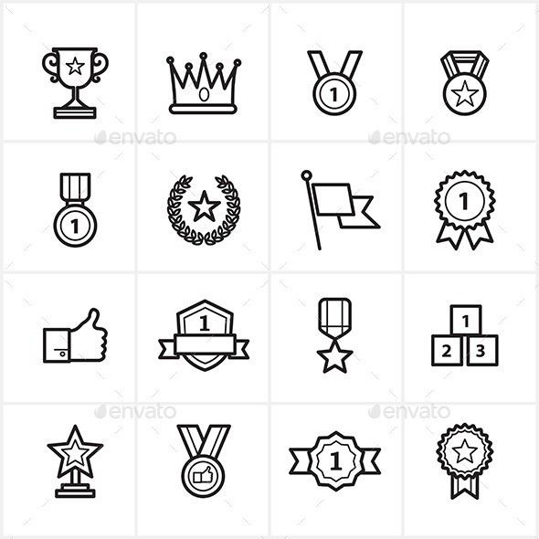 Flat Line Icons Trophy and Prize Icons Vector - Icons