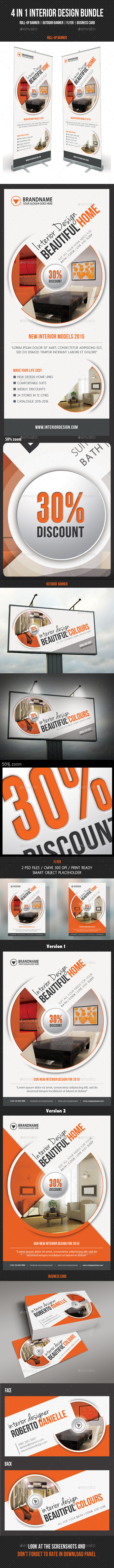 4 in 1 Interior Design Banners Flyer Business Card - Signage Print Templates