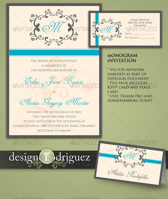 Monogram Invitations in Teal - Weddings Cards & Invites