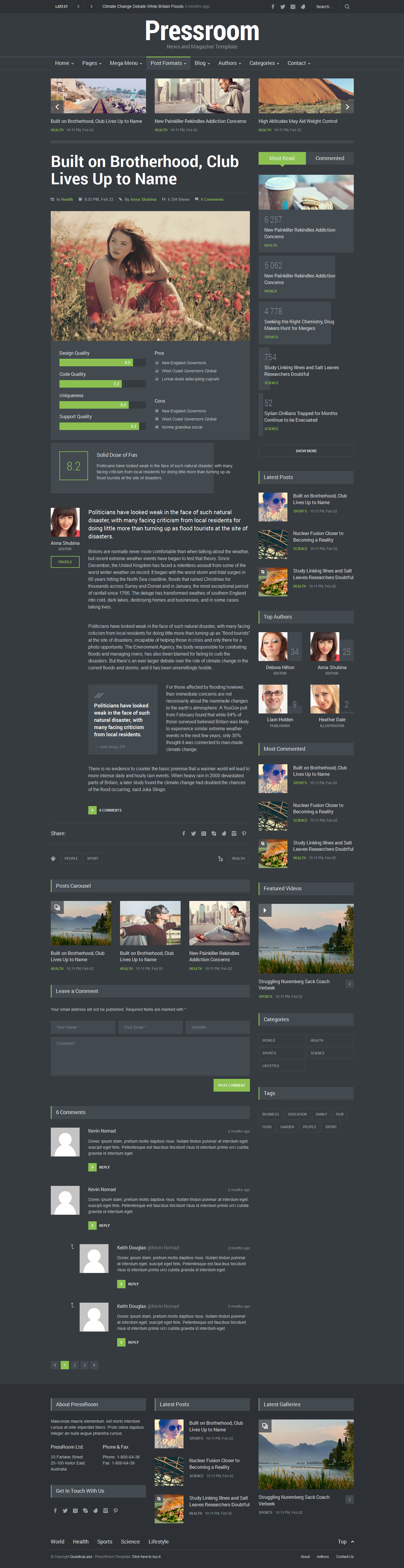 Pressroom - Responsive News and Magazine Template by QuanticaLabs ...