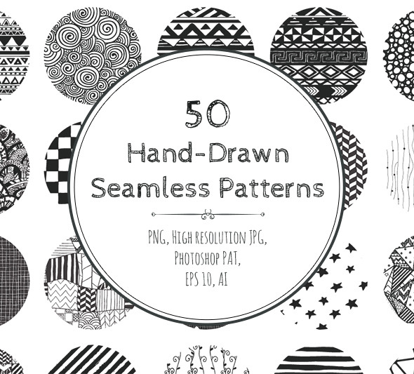 50 Hand-Drawn Seamless Patterns - Add-ons