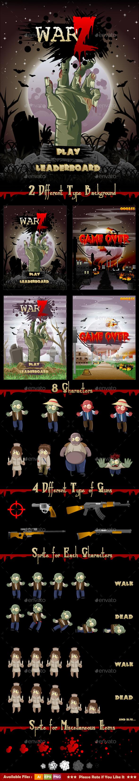 Zombie War Game Assets - Sprites Game Assets