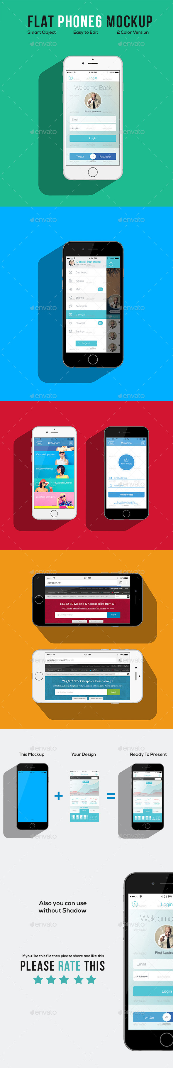 Flat Phone 6 Mockup - Mobile Displays