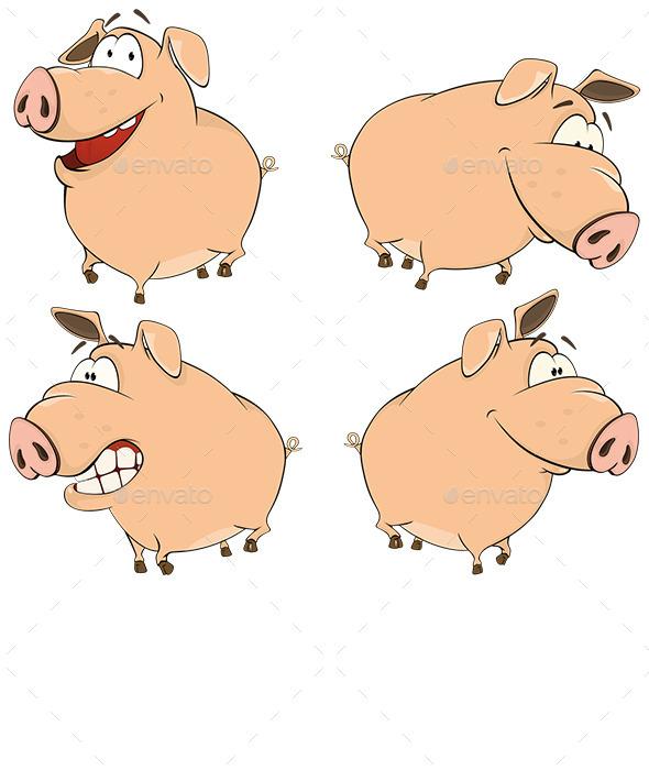 Pig Cartoons - Animals Characters