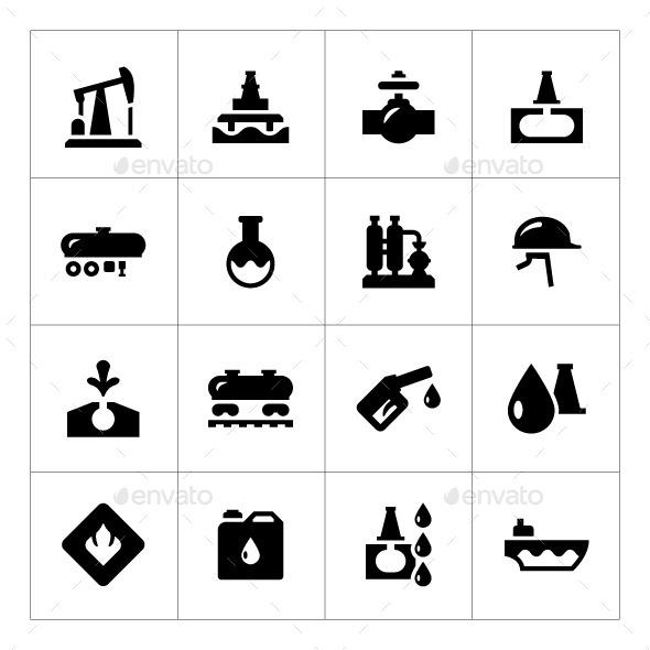 Set Icons of Oil Industry - Man-made objects Objects
