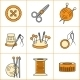Collection of Needlework, Knitting, Sewing Icons  - GraphicRiver Item for Sale